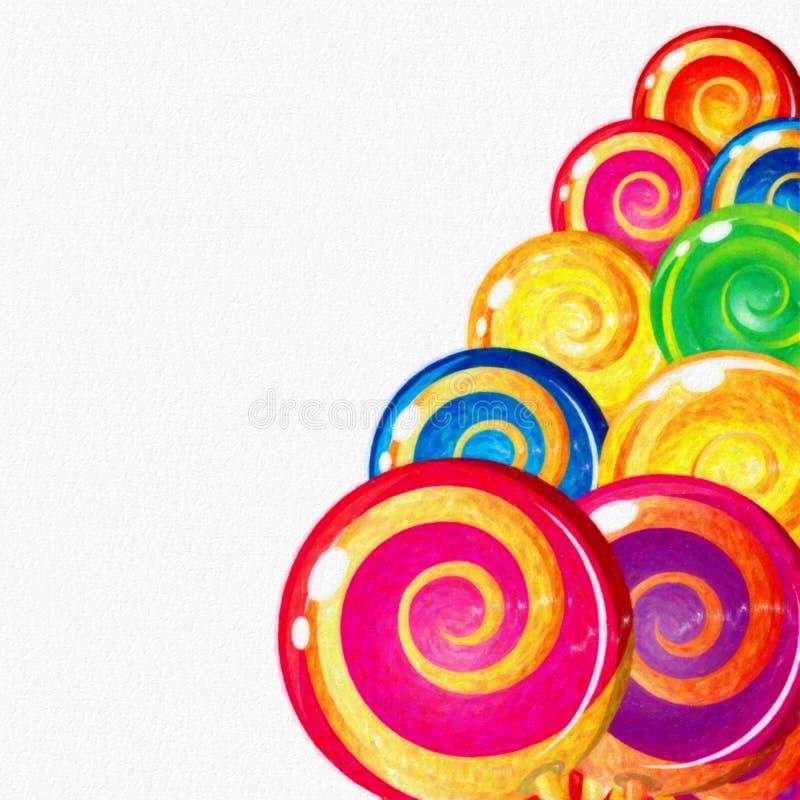Watercolor ζωηρόχρωμο Lollipops στο άσπρο υπόβαθρο Γλυκά τρόφιμα διανυσματική απεικόνιση