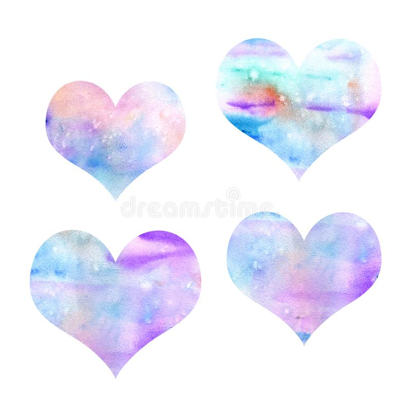 Watercolor καρδιών ελεύθερη απεικόνιση δικαιώματος