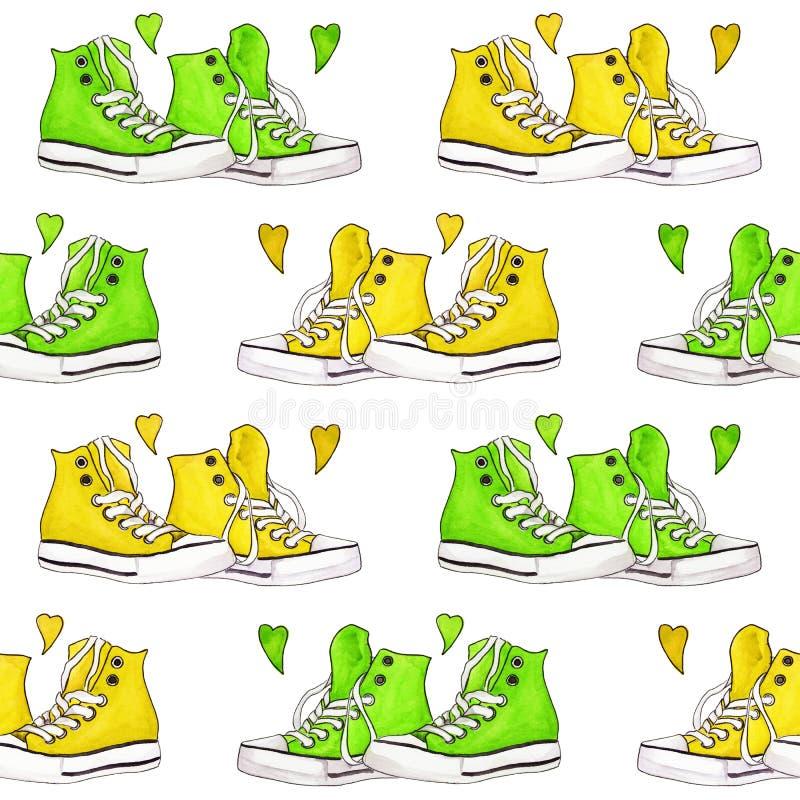 Watercolor κιτρινοπράσινο πάνινων παπουτσιών ζευγαριού υπόβαθρο σχεδίων καρδιών άνευ ραφής ελεύθερη απεικόνιση δικαιώματος