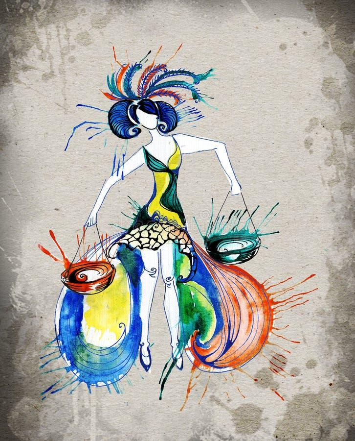 Watercolor κοριτσιών ωροσκοπίων Libra στοκ φωτογραφία με δικαίωμα ελεύθερης χρήσης
