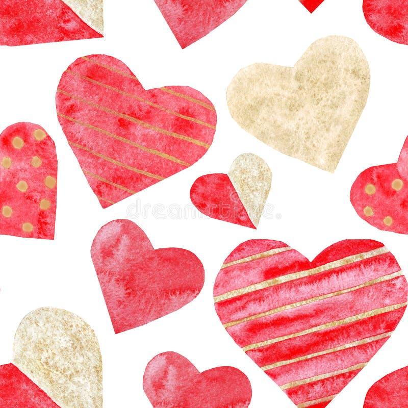 Watercolor κόκκινη και χρυσή ημέρα γαμήλιων βαλεντίνων αγάπης σχεδίων καρδιών άνευ ραφής διανυσματική απεικόνιση