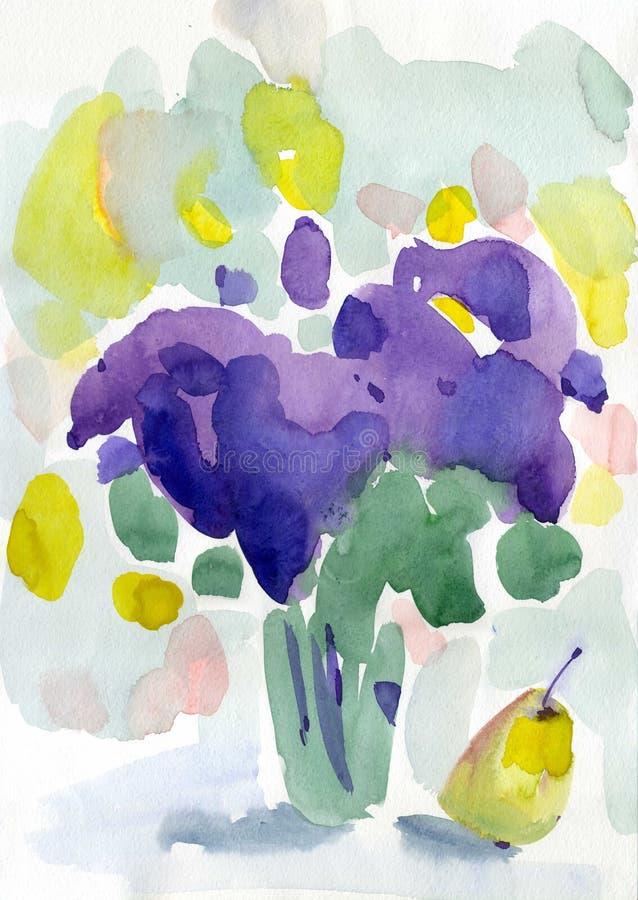 Watercolor λουλούδια άνοιξη ζωγραφικής ιώδη ελεύθερη απεικόνιση δικαιώματος