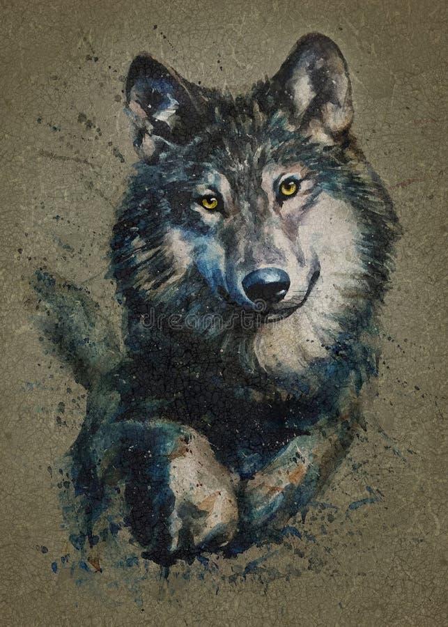Watercolor λύκων που χρωματίζει τα αρπακτικά ζώα άγρια και ελεύθερα διανυσματική απεικόνιση
