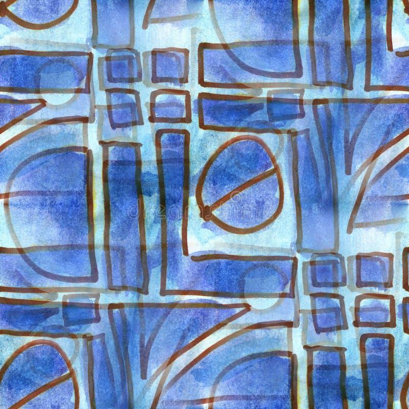 Watercolor μπλε άνευ ραφής σύσταση tetris κύκλων τριγώνων τετραγωνική για την τέχνη επιχειρησιακών ταπετσαριών σας διανυσματική απεικόνιση