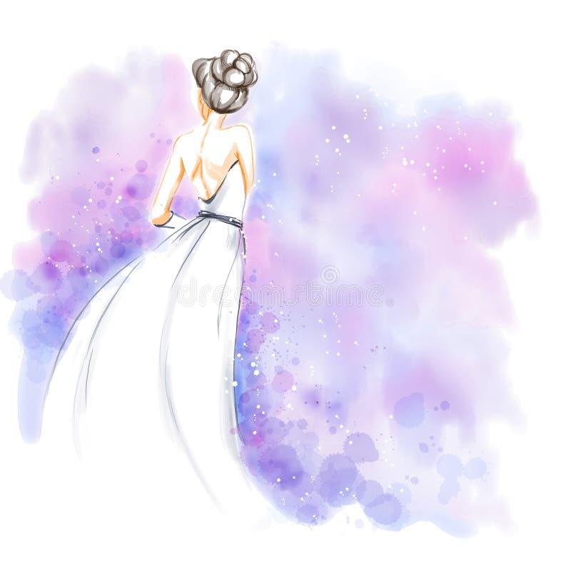 Watercolor, νύφη στο γαμήλιο φόρεμα διανυσματική απεικόνιση