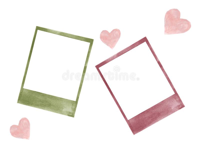 Watercolor πλαισίων εικόνων Polaroid που απομονώνεται διανυσματική απεικόνιση