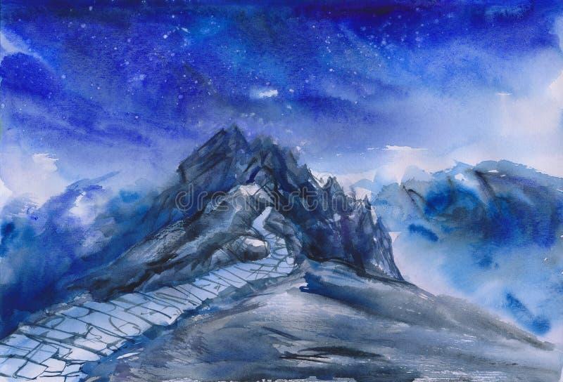 Watercolor πορειών βουνών απεικόνιση αποθεμάτων