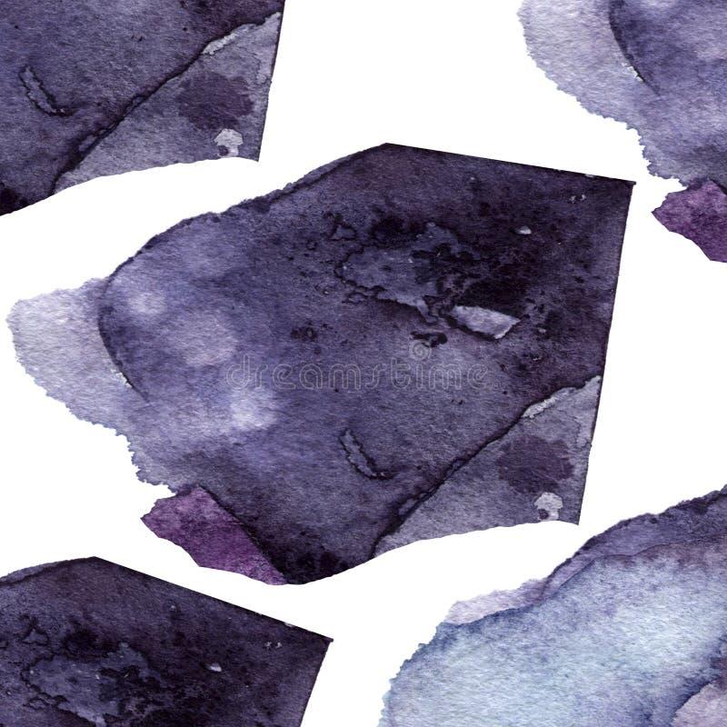 Watercolor πορφυρή παφλασμών σύστασης αφηρημένη σχεδίων τέχνη συνδετήρων απεικόνισης γεωμετρική στο άσπρο υπόβαθρο απεικόνιση αποθεμάτων