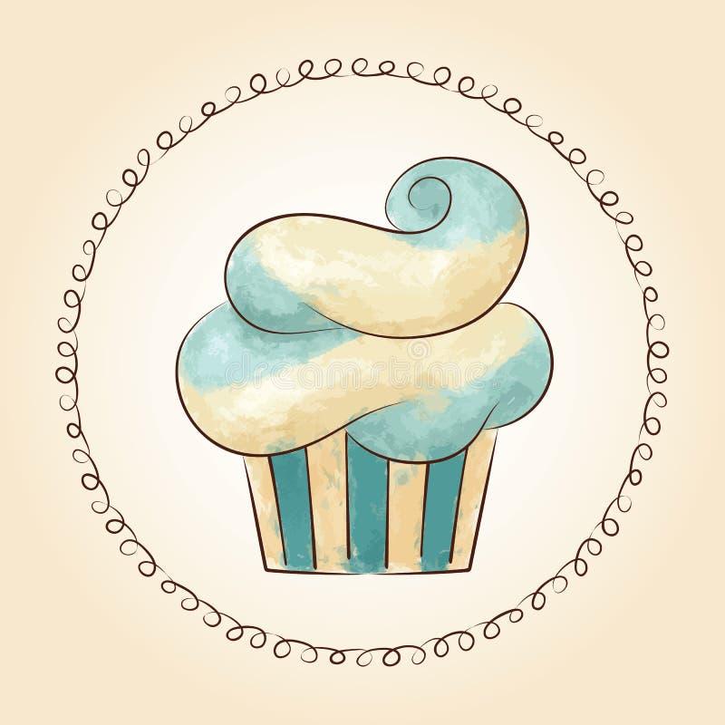 Watercolor που κυματίζουν διανυσματικό cupcake επίσης corel σύρετε το διάνυσμα απεικόνισης ελεύθερη απεικόνιση δικαιώματος