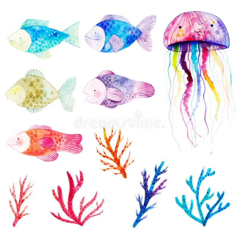 Watercolor που τίθεται με τα ψάρια, τα φύκια, τα κοράλλια και τη μέδουσα στοκ εικόνες