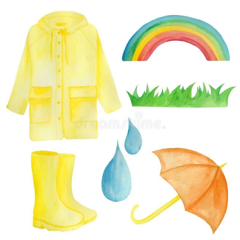 Watercolor που τίθεται με την κίτρινη βροχή, ομπρέλα, ουράνιο τόξο, σταγόνες διανυσματική απεικόνιση