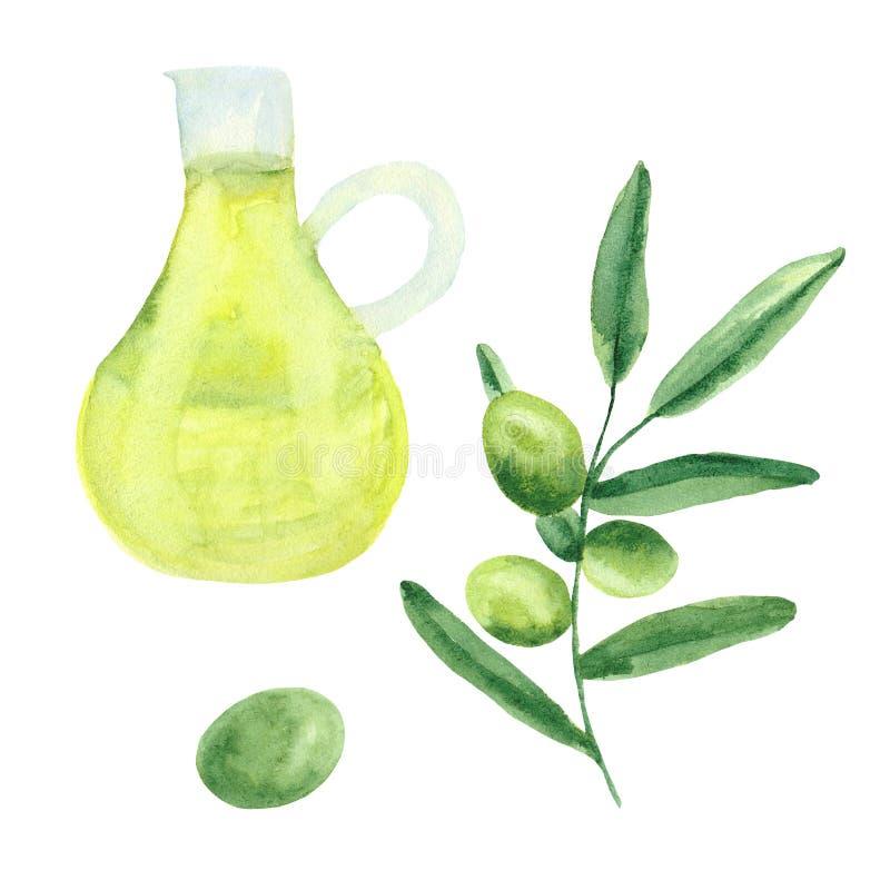 Watercolor που τίθεται με τις ελιές, κλαδί ελιάς, ένα μπουκάλι του ελαιολάδου ελεύθερη απεικόνιση δικαιώματος