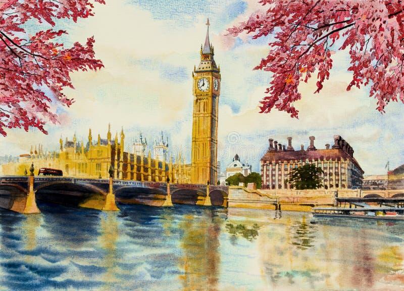 Watercolor που χρωματίζει τον πύργο ρολογιών Big Ben και τον ποταμό του Τάμεση ελεύθερη απεικόνιση δικαιώματος