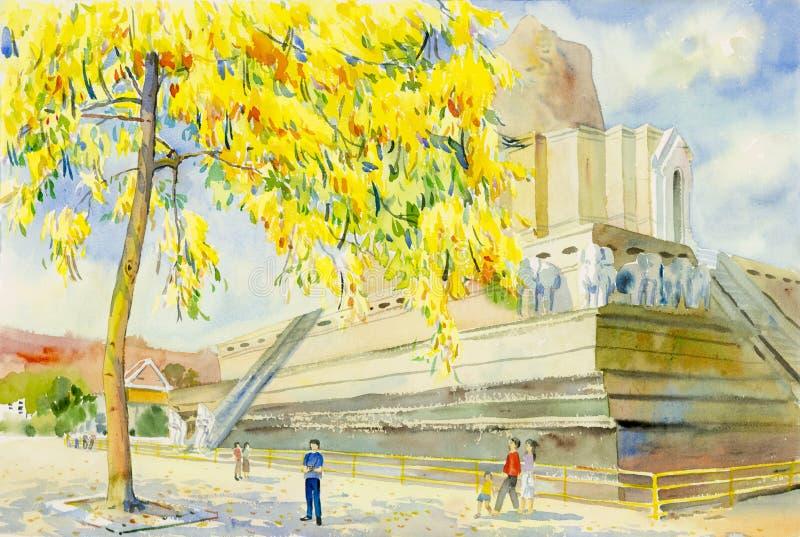 Watercolor που χρωματίζει το αρχικό τοπίο του χρυσού λουλουδιού δέντρων ντους διανυσματική απεικόνιση