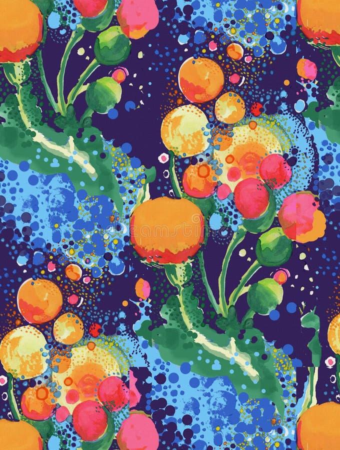Watercolor που χρωματίζει το αφηρημένο floral άνευ ραφής patte διανυσματική απεικόνιση