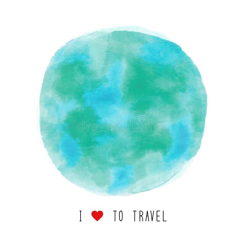 Watercolor σφαιρών που χρωματίζεται με την αγάπη Ι για να ταξιδεψει το κείμενο ελεύθερη απεικόνιση δικαιώματος