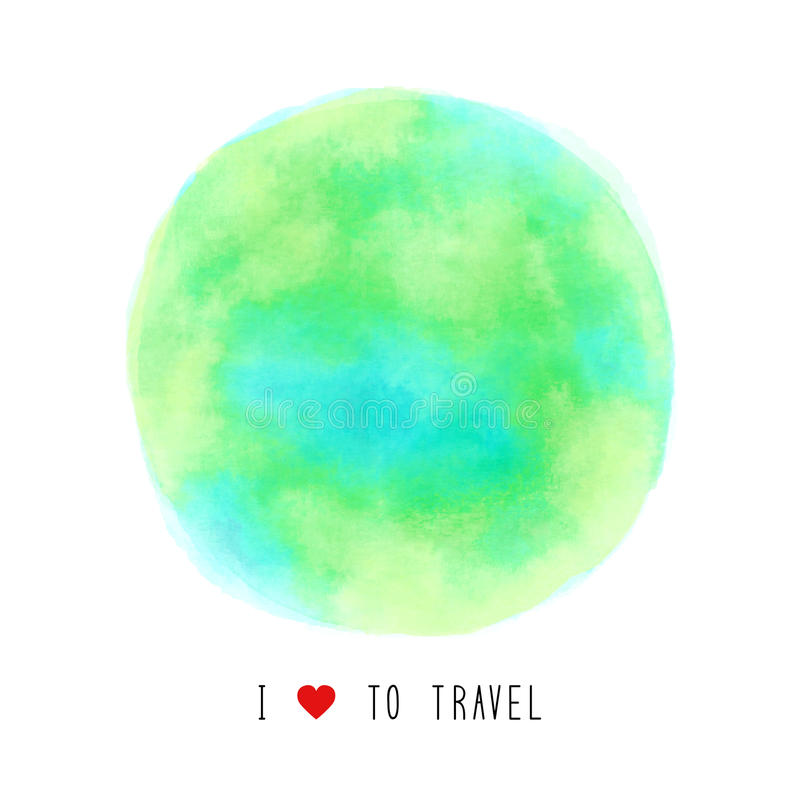 Watercolor σφαιρών που χρωματίζεται με την αγάπη Ι για να ταξιδεψει το κείμενο διανυσματική απεικόνιση