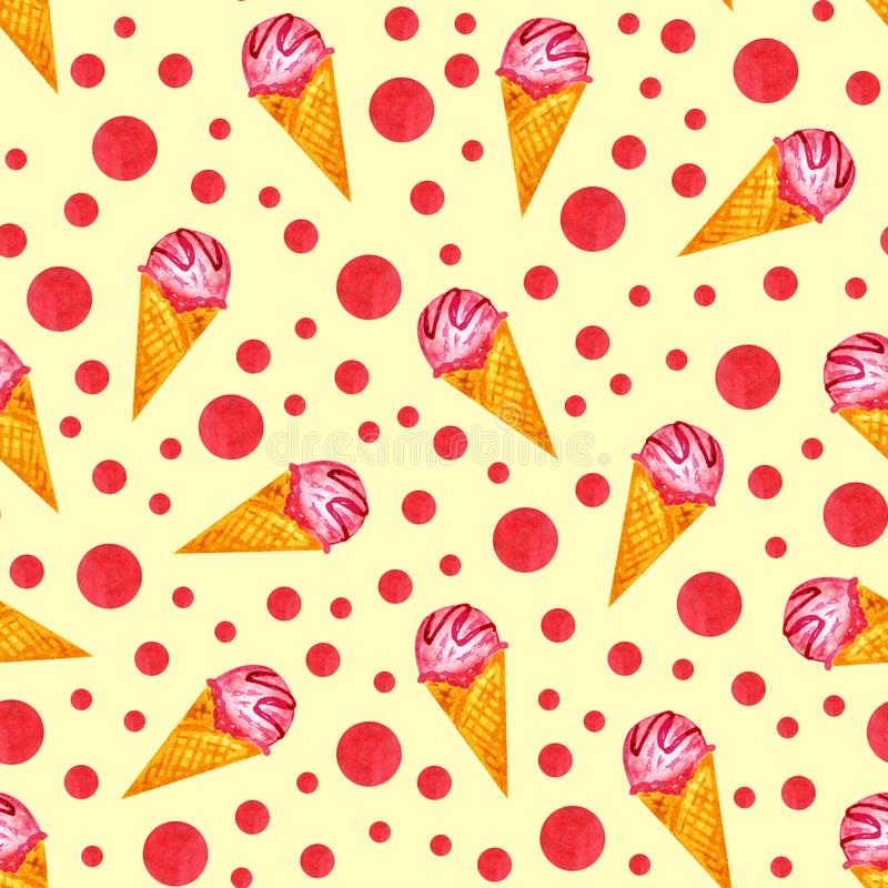 Watercolor σχεδίων χεριών κώνων παγωτού απεικόνιση αποθεμάτων