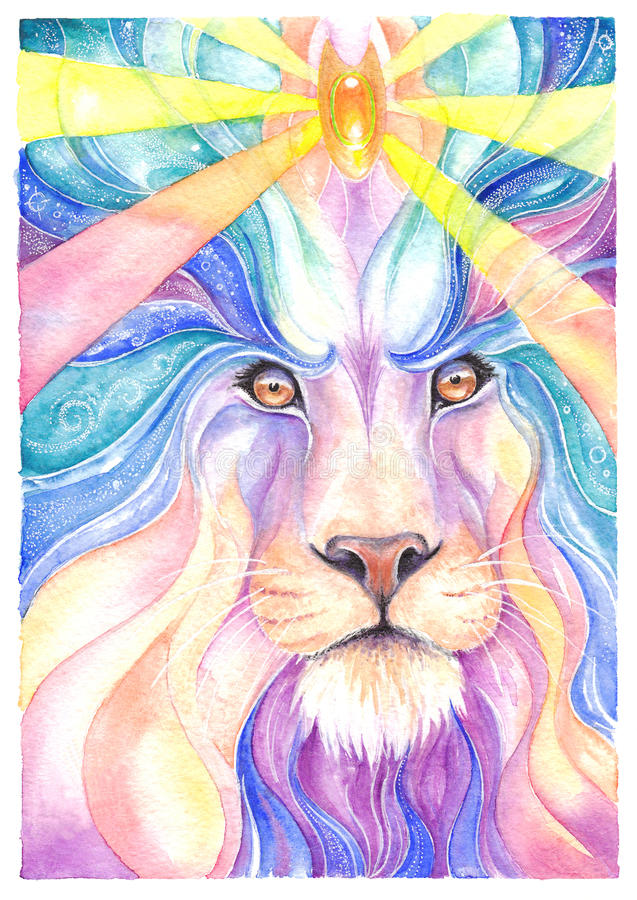 Watercolor σχεδίων λιονταριών και χρωματισμένο μολύβι ελεύθερη απεικόνιση δικαιώματος