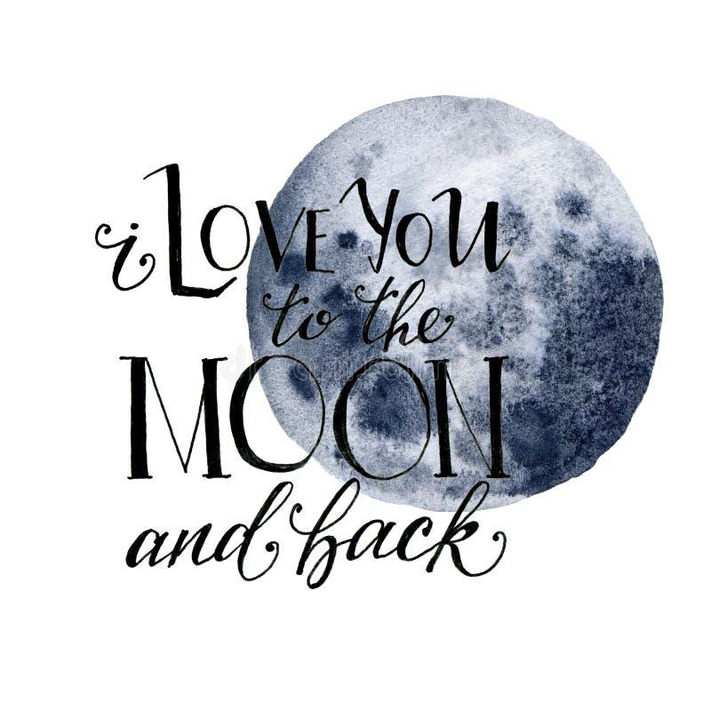 Watercolor σ' αγαπώ στο φεγγάρι και την πίσω κάρτα Συρμένο χέρι μπλε φεγγάρι και εγγραφή που απομονώνονται στο άσπρο υπόβαθρο mod ελεύθερη απεικόνιση δικαιώματος
