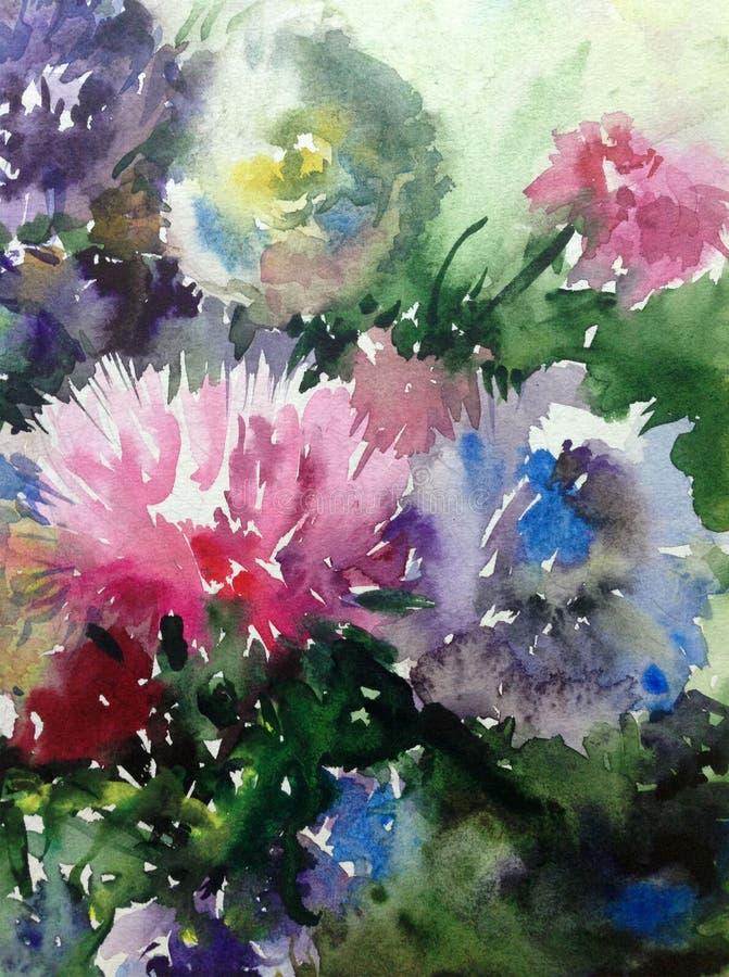 Watercolor τέχνης αφηρημένος κήπος ανθοδεσμών αστέρων λουλουδιών υποβάθρου όμορφος ζωηρόχρωμος floral απεικόνιση αποθεμάτων