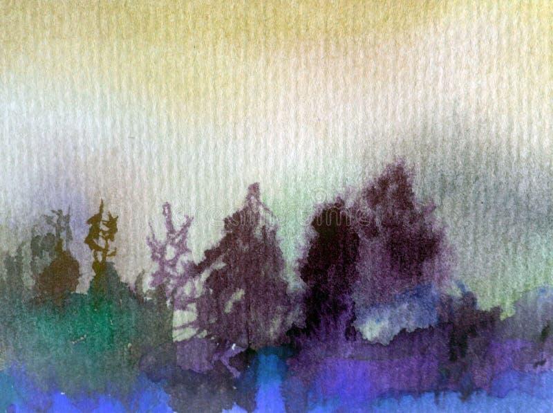 Watercolor τέχνης το αφηρημένο πλύσιμο φύσης πεύκων δασικών δέντρων ουρανού τοπίων υποβάθρου φρέσκο όμορφο κατασκευασμένο υγρό θό ελεύθερη απεικόνιση δικαιώματος