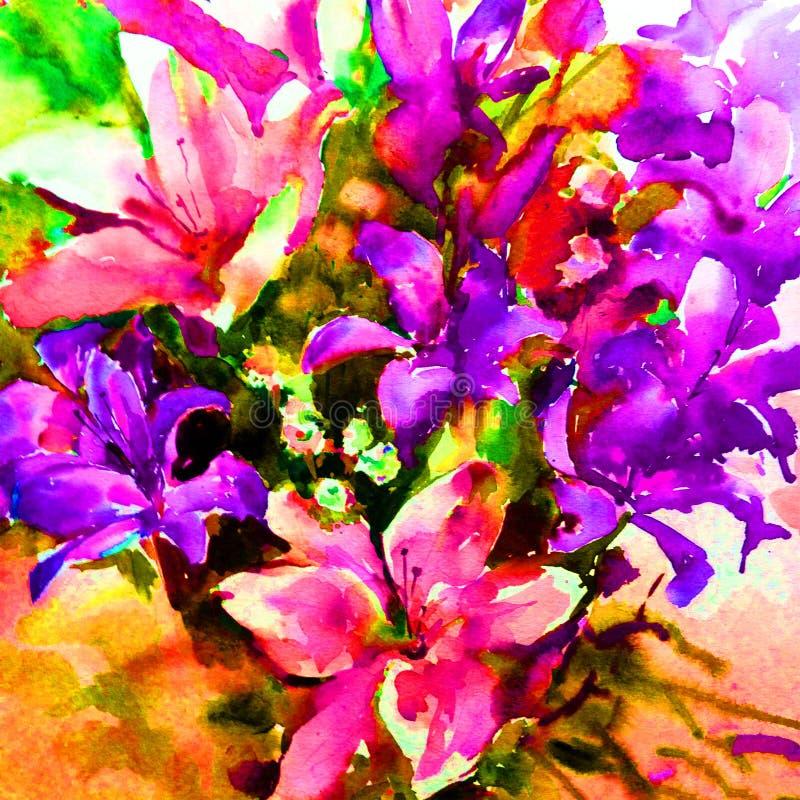 Watercolor τέχνης υγρό πλύσιμο κρίνων λουλουδιών υποβάθρου το φρέσκο κατασκευασμένο floral θόλωσε τη φαντασία χάους υπερχείλισης ελεύθερη απεικόνιση δικαιώματος
