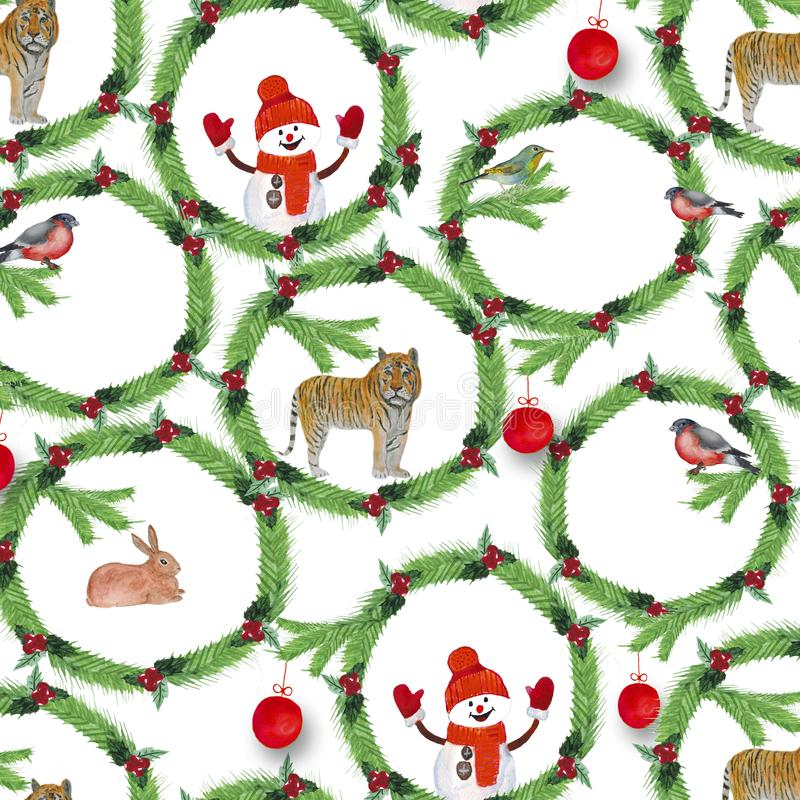 watercolor Τα στεφάνια Χριστουγέννων του έλατου διακλαδίζονται, κόκκινα μούρα, πουλιά, τίγρη, κουνέλια και χιονάνθρωπος διανυσματική απεικόνιση