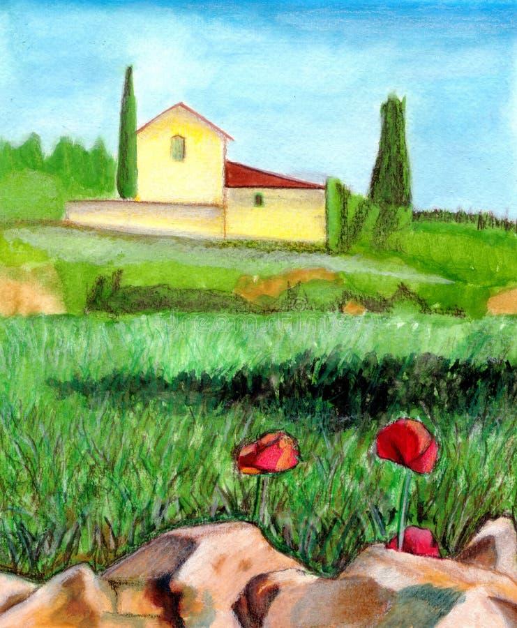 Download Watercolor τοπίων απεικόνιση αποθεμάτων. εικονογραφία από υπαίθρια - 375397