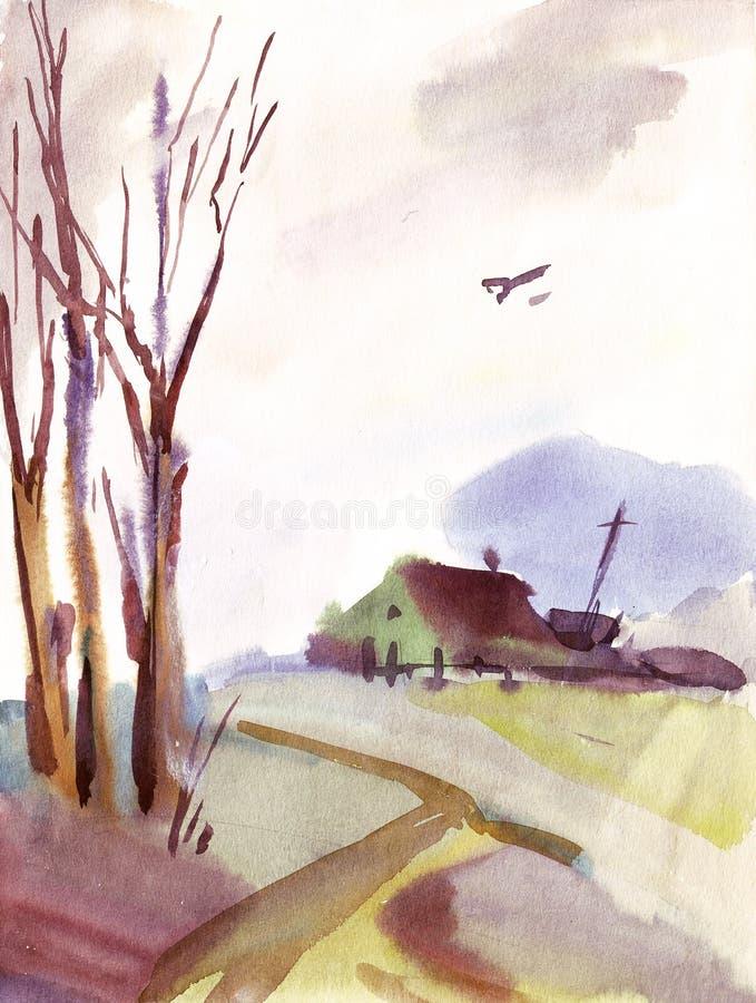 watercolor τοπίων διανυσματική απεικόνιση