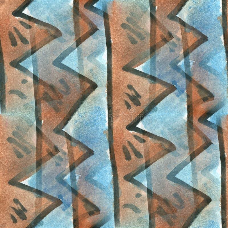 Watercolor τριγώνων άνευ ραφής σύσταση κλωστοϋφαντουργικών προϊόντων λωρίδων μπλε καφετιά για την τέχνη επιχειρησιακών ταπετσαριώ ελεύθερη απεικόνιση δικαιώματος