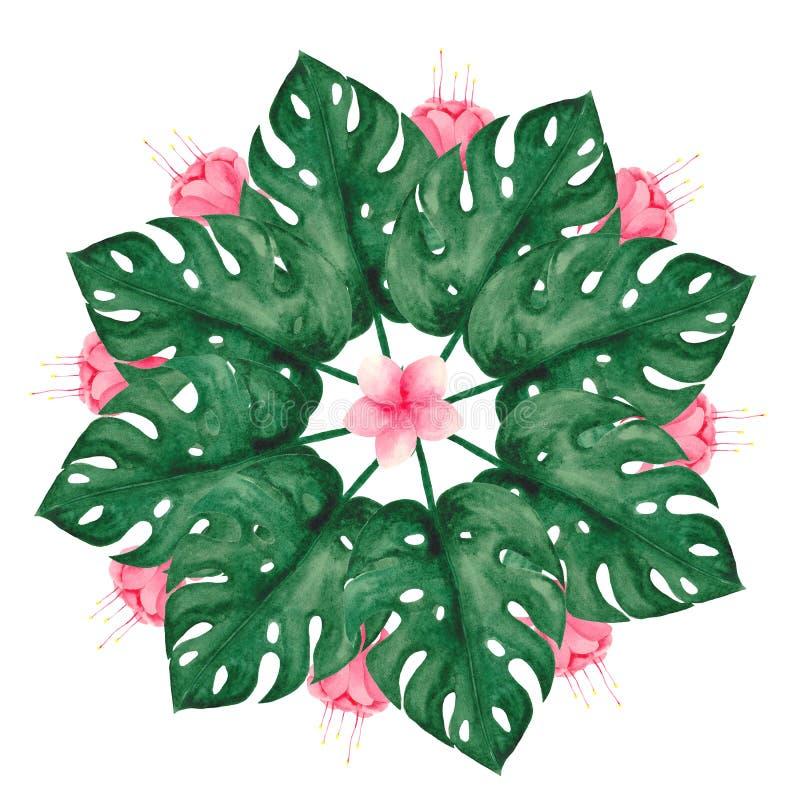 Watercolor που τίθεται με τα τροπικά φύλλα και τα λουλούδια διανυσματική απεικόνιση