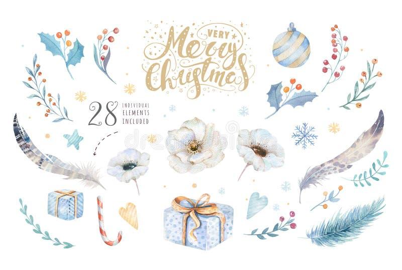 Watercolor Χαρούμενα Χριστούγεννας που τίθεται με τα floral στοιχεία Συλλογή αφισών εγγραφής καλής χρονιάς Χειμερινό λουλούδι και διανυσματική απεικόνιση
