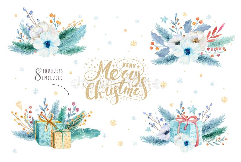 Watercolor Χαρούμενα Χριστούγεννας που τίθεται με τα floral στοιχεία Συλλογή αφισών εγγραφής καλής χρονιάς Χειμερινά λουλούδια, δ απεικόνιση αποθεμάτων