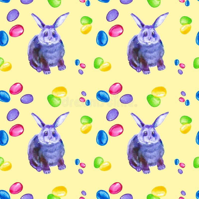 Άνευ ραφής σχέδιο του αφηρημένου πολύχρωμου και μπλε λαγουδάκι, του ρόδινου τόξου και των ζωηρόχρωμων αυγών Πάσχας Απεικόνιση Wat διανυσματική απεικόνιση