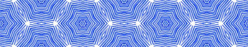 Μπλε άνευ ραφής κύλινδρος συνόρων Γεωμετρικό Watercolor ελεύθερη απεικόνιση δικαιώματος