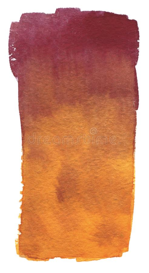 Watercolor abstract background brush stroke red and orange color gradient. Hand drawn watercolour painting on white vector illustration