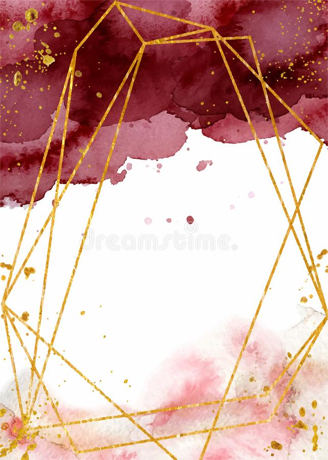 Watercolor abstract background, hand drawn watercolour burgundy and gold texture vector illustration