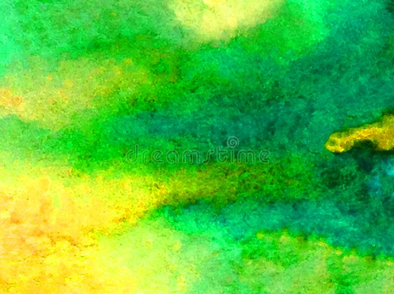 Watercolor abstract background landscape green yellow bright blurred textured decoration hand beautiful overflow blot wallpaper royalty free stock image