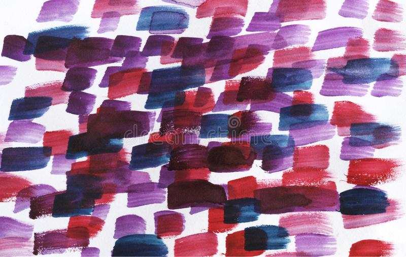 Watercolor abstract background.Red, blue and purple paint strokes.  royalty free stock photo