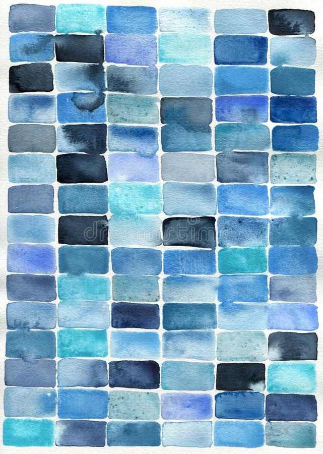 Watercolor abstract blue rectangles. Watercolor abstract painting of blue rectangles suitable for use as a textured background stock illustration