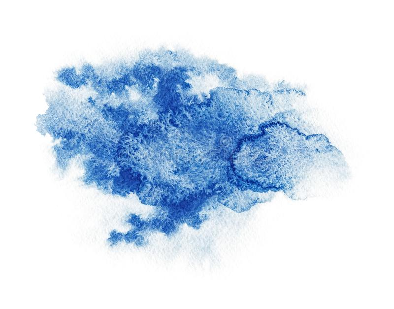 Watercolor. Abstract blue spot on white watercolor paper. royalty free stock images