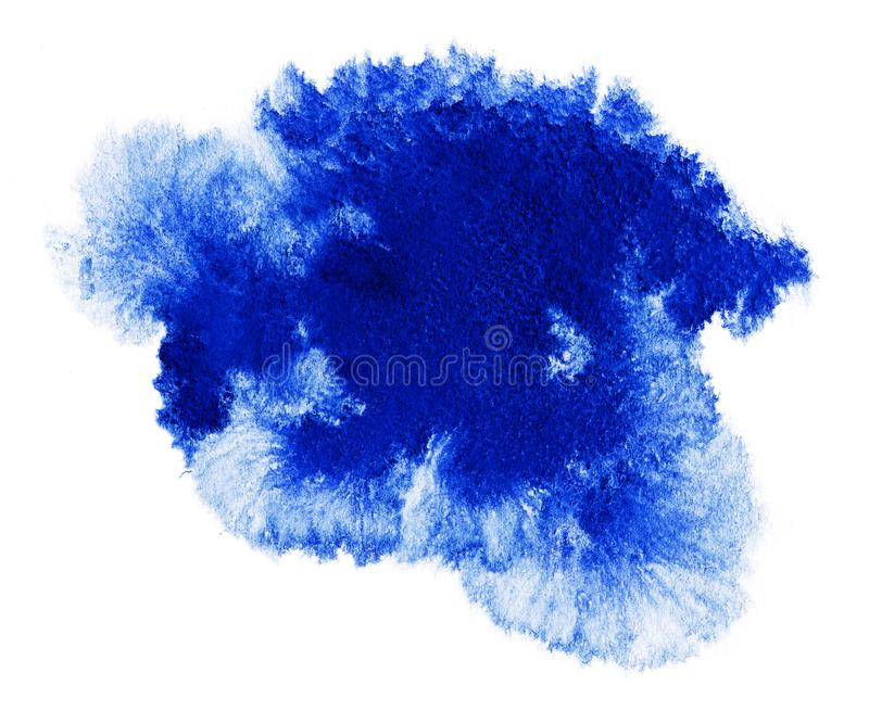 Watercolor. Abstract blue spot on white watercolor paper. stock illustration