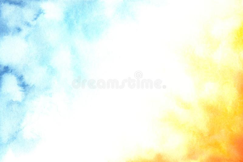 Watercolor abstract blue, white and orange gradient background vector illustration
