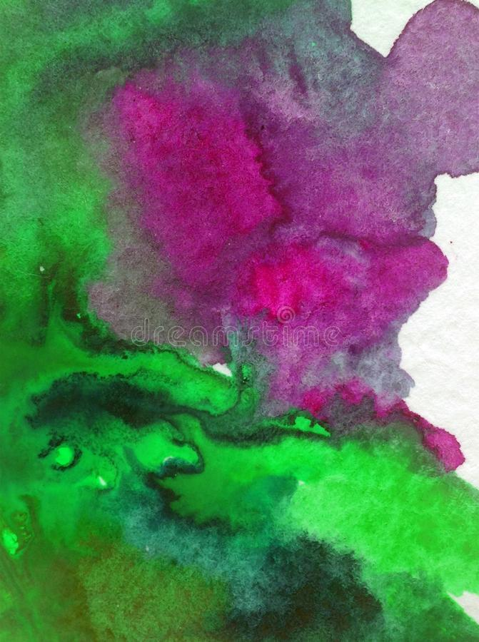 Watercolor abstract bright colorful textural background handmade . Painting of cave underwater ocean . seascape. Watercolor abstract bright colorful textural stock illustration
