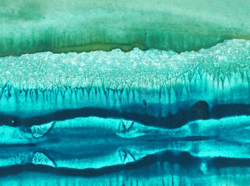 Watercolor abstract bright colorful textural background handmade . Painting of an ice mountain in the northern cold sea . Monotype stock images