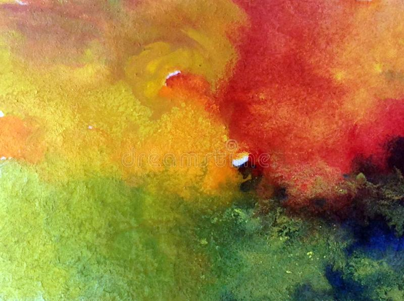 Watercolor abstract bright colorful textural background handmade . Painting of sky and cloud during sunset . Modern cosmic pattern. Watercolor abstract bright royalty free illustration