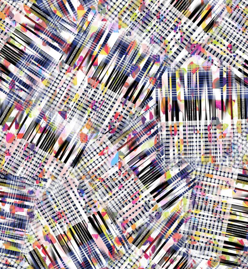 Watercolor abstract digital checks pattern. Seamless watercolor abstract digital checks and colorful pattern and colorful royalty free stock photography