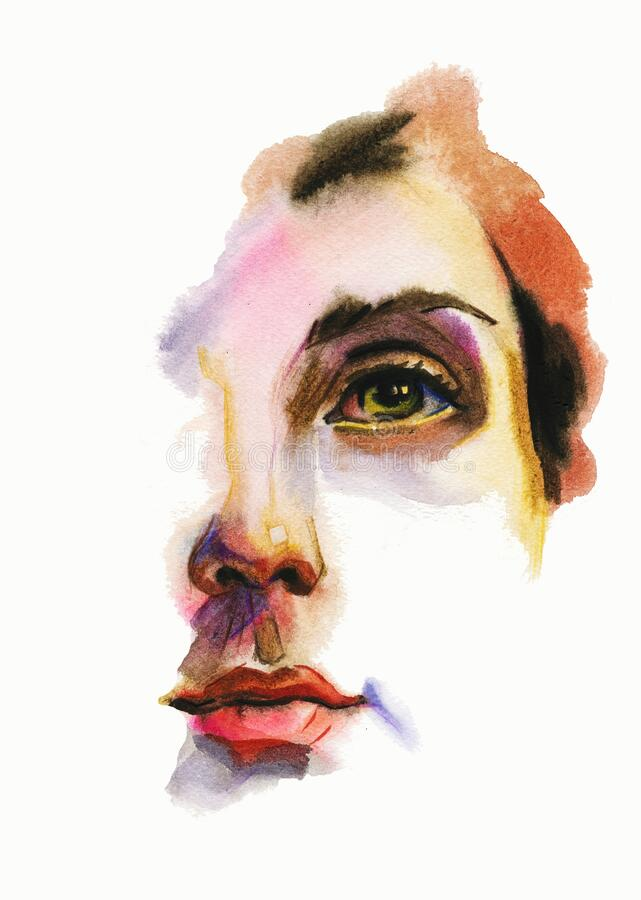 Free Watercolor Abstract Female Face Illustration. Contemporary Painting Of Woman Face On White Background Stock Photo - 170524010