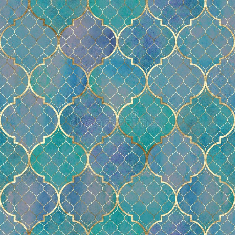 Watercolor abstract geometric seamless pattern. Arab tiles. Kaleidoscope effect. Watercolour vintage mosaic texture royalty free stock images